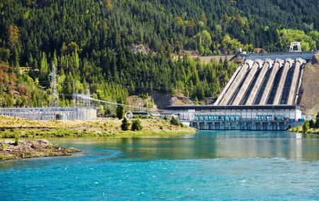 Lake Benmore hydroelectric dam, New Zealand Stok Fotoğraf