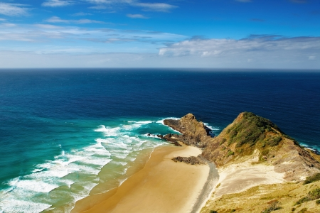 Cape Reinga, north edge of New Zealand, Indian and Pacific oceans meets here Stock Photo