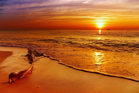 Golden sunset, tropical beach, Chang island, Thailand  photo
