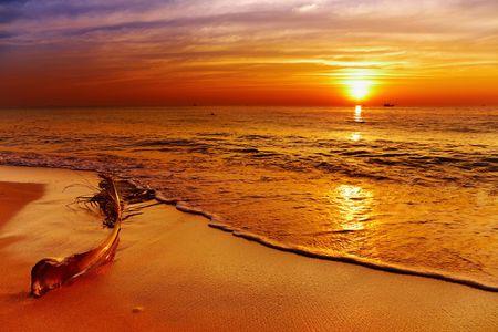 chang: Golden sunset, tropical beach, Chang island, Thailand  Stock Photo