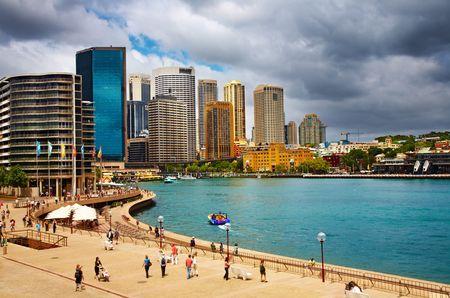 Sydney Harbour and city skyline, Australia Stock Photo