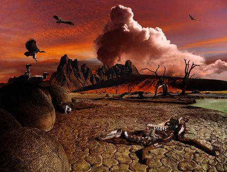 Apocalyptic fantasy, death in desert