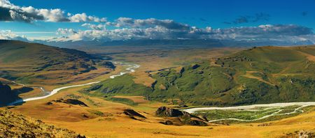 boarders: Mountain landscape, Plateau Ukok, Russian, Chinese and Mongolian boarders meets here