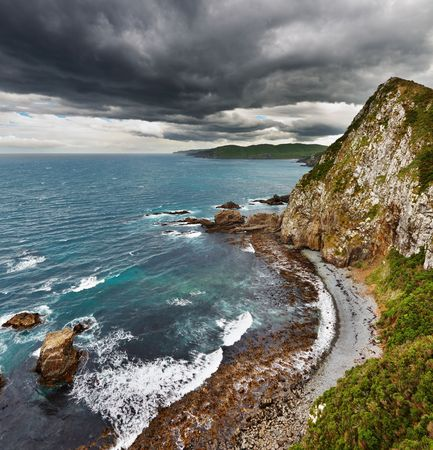 Coastal view, Catlins Coast, New Zealand  photo