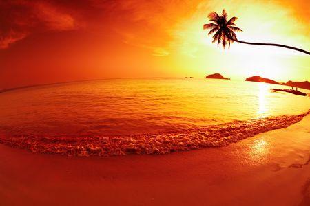 Tropical beach at sunset, Mak island, Thailand  photo