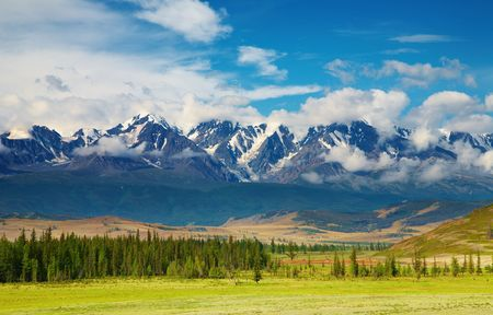 Mountain landscape with forest and blue sky, Altai mountains, Russia photo