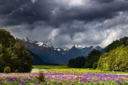Mountain landscape with storm clouds, New Zealand photo
