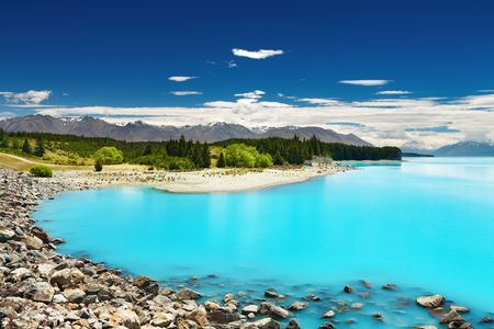 Pukaki lake and Southern Alps, New Zealand  Stock Photo