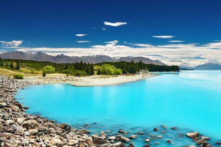 Pukaki lake and Southern Alps, New Zealand Stock Photo