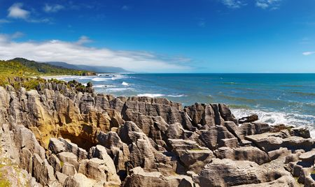 littoral: Punakaiki Pancake Rocks, West Coast, New Zealand  Stock Photo