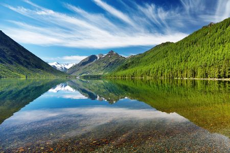 Beautiful lake with reflection in Altai mountains