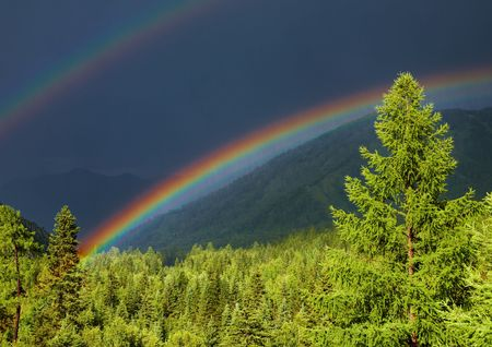 Mountain landscape with forest and double rainbow Stock Photo