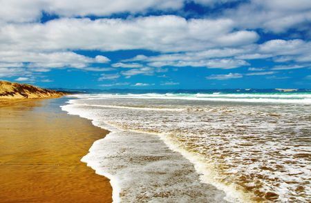 mile: Famous Ninety Mile Beach, New Zealand  Stock Photo