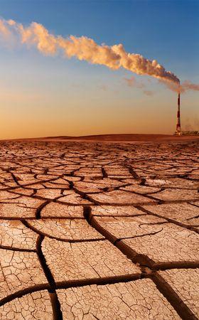 Industrial destruction, global warming concept  Stock Photo