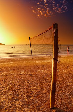 chang: Volleyball net on the tropical beach, Chang island, Thailand