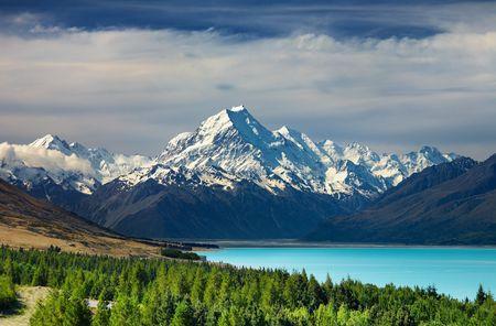 new zealand: Mount Cook and Pukaki lake, New Zealand