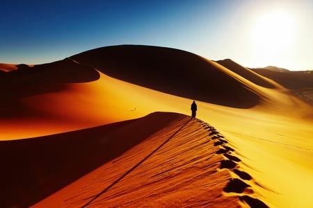 Sand dune climbing at sunrise, Sahara Desert, Algeria  photo
