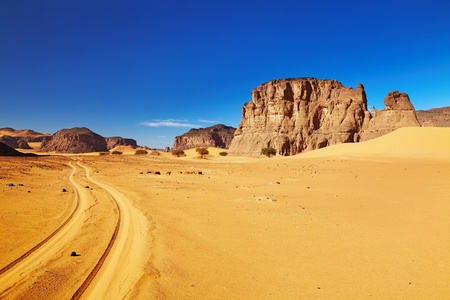 sahara desert: Desert landscape with rocks and blue sky, Tadrart, Algeria