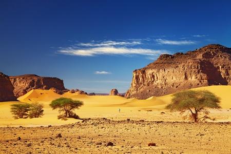 dune: Paisaje con rocas, desierto del Sahara, Tadrart, Argelia y dunas del desierto  Foto de archivo