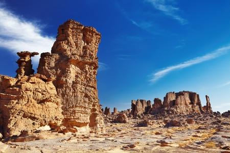 parch: Bizarre sandstone cliffs in Sahara Desert, Tassili NAjjer, Algeria