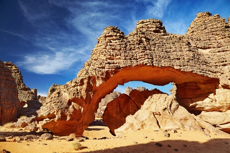 Bizarre sandstone cliffs in Sahara Desert, Tassili NAjjer, Algeria   Stock Photo