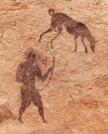 Famous prehistoric rock paintings of Tassili N'Ajjer, Algeria Фото со стока - 8677717