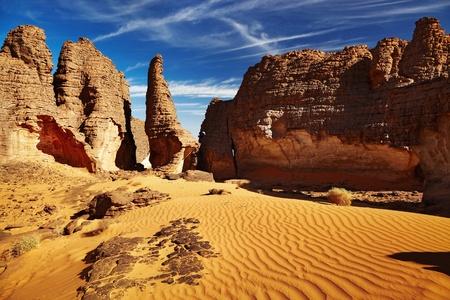 Bizarre sandstone cliffs in Sahara Desert, Tassili NAjjer, Algeria  photo