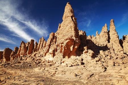 Bizarre sandstone cliffs in Sahara Desert, Tassili N'Ajjer, Algeria Stock Photo - 8677722