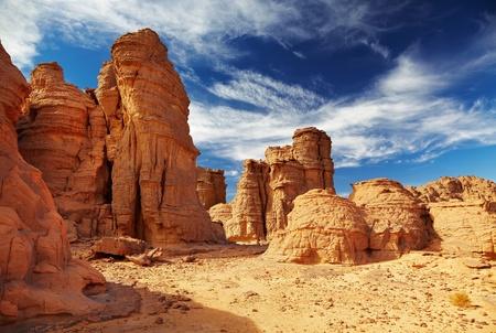 Falaises de grès bizarres dans le désert du Sahara, le Tassili n'Ajjer, Algérie Banque d'images - 9025666
