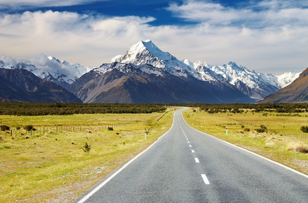 new scenery: Road to mount Cook, Southern Alps, New Zealand