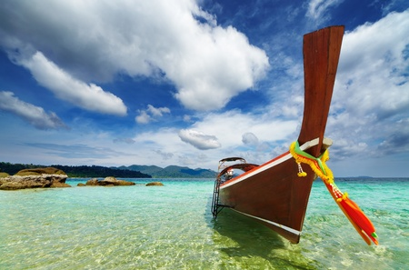 Long tail boat, Tropical beach, Andaman Sea, Thailand Stock Photo - 13401791