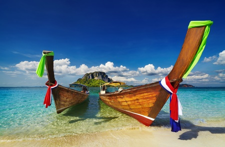 Longtail boats, Tropical beach, Tub Island, Andaman Sea, Thailand photo