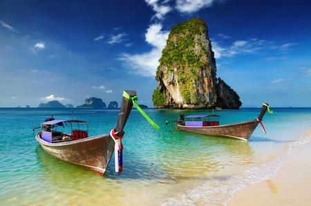 Tropical beach, longtail boats, Andaman Sea, Thailand Stok Fotoğraf