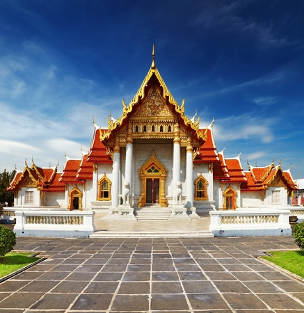 Traditional Thai architecture, Wat Benjamaborphit or Marble Temple, Bangkok photo