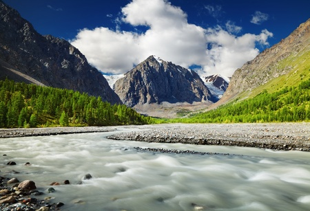 Mountain valley with river and green forest, Altai mountains, Russia photo