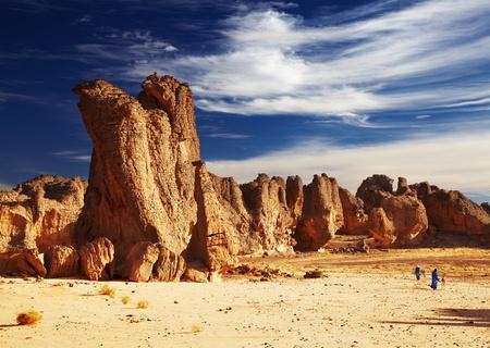 Bizarre sandstone cliffs in Sahara Desert, Tassili N Ajjer, Algeria