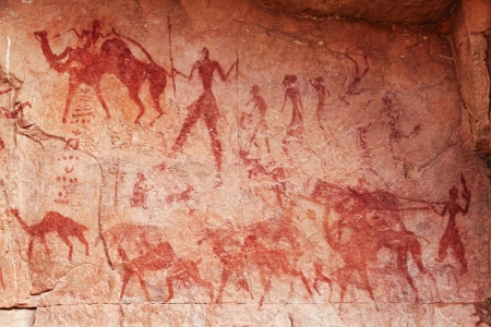 Famous prehistoric rock paintings of Tassili N Ajjer, Algeria Stock Photo