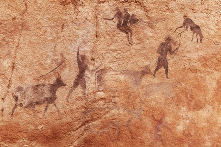 Famous prehistoric rock paintings of Tassili N Ajjer, Algeria Stok Fotoğraf