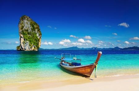 andaman: Long tail boat, Tropical beach, Andaman Sea, Thailand Stock Photo