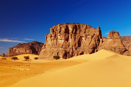 sahara desert: Sand dunes and rocks, Sahara Desert, Algeria Stock Photo