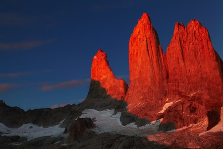 paine: Towers at sunrise, Torres del Paine National Park, Patagonia, Chile