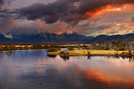torres del paine: Colorful sunrise, Torres del Paine National Park, Patagonia, Chile