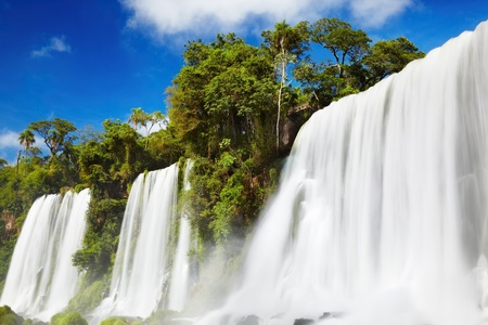 Iguassu Falls, the largest series of waterfalls of the world, located at the Brazilian and Argentinian border, View from Argentinian side Stock Photo - 13541040