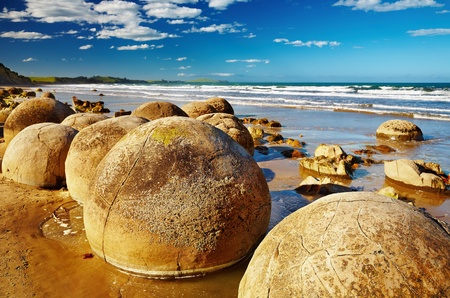 Famous Moeraki Boulders, South Island, New Zealand  photo