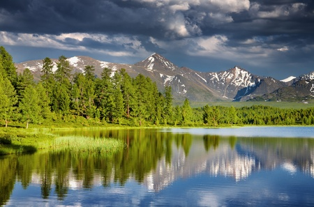 Mountain lake at sunset, Altai mountains  photo
