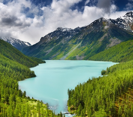 Beautiful turquoise lake in Altai mountains  photo