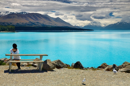 spectacular: Lake Pukaki and Mount Cook, Southern Alps, New Zealand Stock Photo