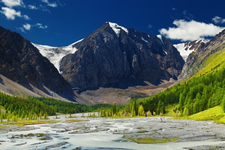 Mountain valley with river and green forest, Altai mountains, Russia Stock Photo - 13621281