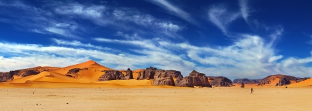 Sand dunes and rocks, Sahara Desert, Algeria  photo