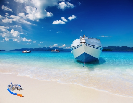 dive trip: Tropical beach with white sand and azure sea